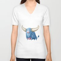 bull V-neck T-shirts featuring Bull by Kristijan D.