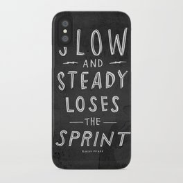 slow and steady loses the sprint blk&wht iPhone Case