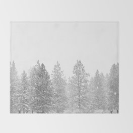 Snow Day // Black and White Winter Landscape Photography Snowing Whiteout Blizzard Throw Blanket