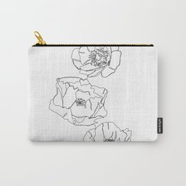 Botanical illustration line drawing - Poppies Carry-All Pouch