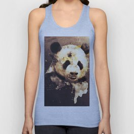 Panda Painting, Abstract Art, Bears, Black and White, Animals, Brown, Moden Decor, Vintage Style Unisex Tank Top