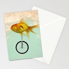 unicycle gold fish -2 Stationery Cards