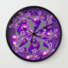 Abstract Purple Iris Floral Garden Grey  Art Wall Clock