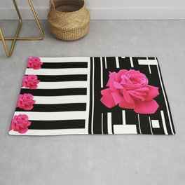 MODERN ABSTRACT PINK ROSES WHITE-BLACK ART Rug