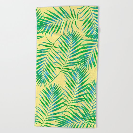 Fern Leaves Yellow Beach Towel