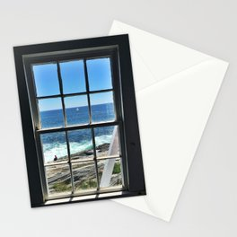 Sailboat in a Window at Pemaquid Point Lighthouse Stationery Cards