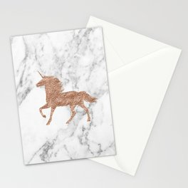 Rose gold unicorn on marble Stationery Cards