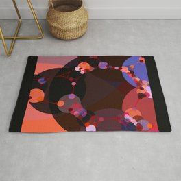 marilyn - abstract design of black pumpkin orange garnet red and pink Rug