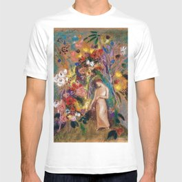 Female figure into red poppy, calla lilies, hibiscus, and flowers portrait painting by Odilon Redon T-shirt
