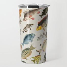 vintage fish swim on bone Travel Mug