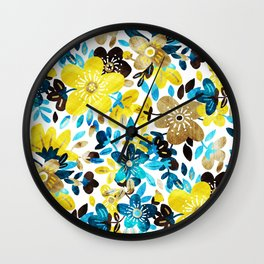 Happy Yellow Flower Collage Wall Clock