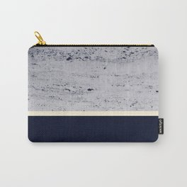 Navy Blue Pale Yellow on Navy Blue Concrete #1 #decor #art #society6 Carry-All Pouch
