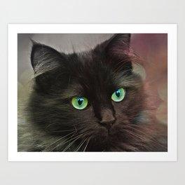Cat Green Eyes Art Print