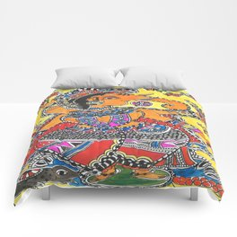 Madhubani - YellowGanesh Comforters