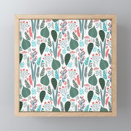 Colorful tropical laves pattern Framed Mini Art Print