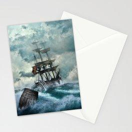 Ship, Shipwreck, Adventure, Setting, Boat, Mysticism. Vintage. Retro. Illustration.  Stationery Cards