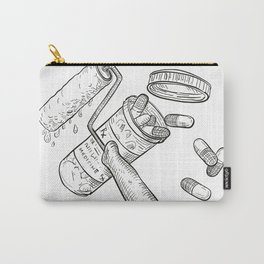 Paint Roller Medicine Pill Bottle Drawing Black and White Carry-All Pouch