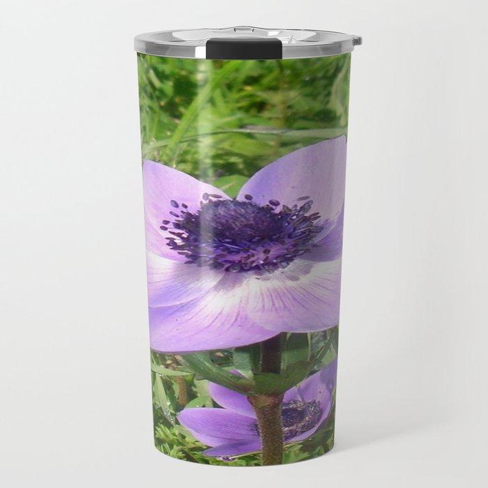 One Delicate Pale Lilac Anemone Coronaria Wild Flower Travel Mug