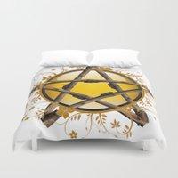 pentagram Duvet Covers featuring Flower Pentagram by The Painted Kat
