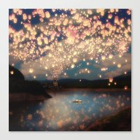 pixel Canvas Prints featuring Love Wish Lanterns by Paula Belle Flores