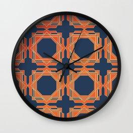 Blue & Orange Fretwork Wall Clock