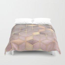 Gold blush grey Gradient cube Duvet Cover