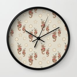 Seahorse Reindeer and Holiday Cookies Wall Clock