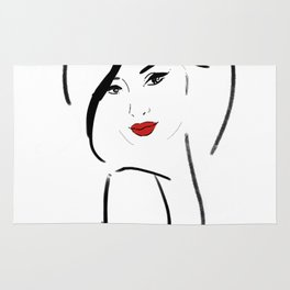 Red lips girl Rug