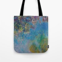 monet Tote Bags featuring Monet by Palazzo Art Gallery