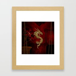 Wonderful golden chinese dragon Framed Art Print
