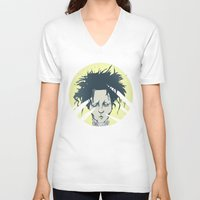 edward scissorhands V-neck T-shirts featuring edward scissorhands by Berkay Daglar