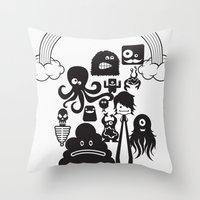 monster inc Throw Pillows featuring Monster Collection Inc  by Dei Hendrick