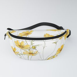 Yellow Cosmos Flowers Fanny Pack