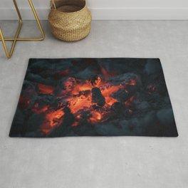 coals fire bonfire dark Rug
