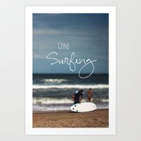surfing Art Prints featuring Surfing by Brandy Coleman Ford