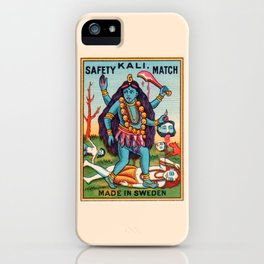 Kali Hindu Goddess Devi Shakti Matches Vintage Graphic iPhone Case