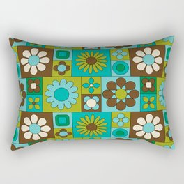 Mod Geometric Flower Pattern Rectangular Pillow