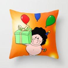 Birthday Pig Throw Pillow