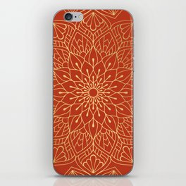 Gold Mandala Pattern On Red iPhone Skin
