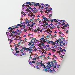 Pink & Purple Trendy Glitter Mermaid Scales Coaster