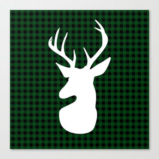 Elegant Green Plaid Deer Design Canvas Print