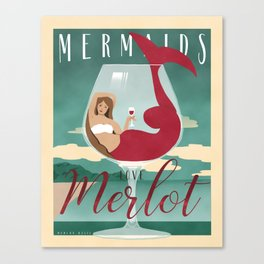 Mermaids Love Merlot Canvas Print