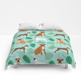 boxer monstera tropical summer dog breed gifts pure breed pets Comforters