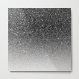 Elegant chic black silver gradient glitter Metal Print