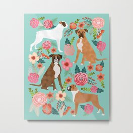 Boxer dog breed florals mint pastel turquoise cute pet portrait animal fur baby must have gifts  Metal Print