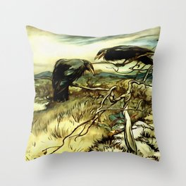 The Two Crows Throw Pillow