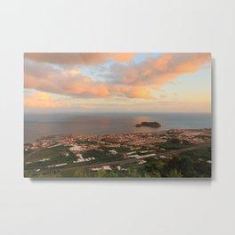 Coastal town in Azores Metal Print