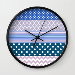 Abstract geometric pastel color chevron polka dots pattern Wall Clock