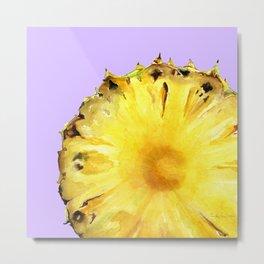 Pineapple on Lavender Metal Print