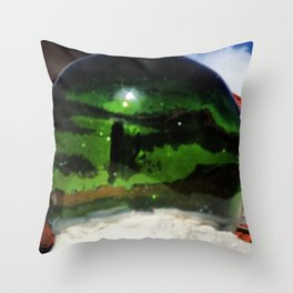 Green, green, glassy balls Throw Pillow